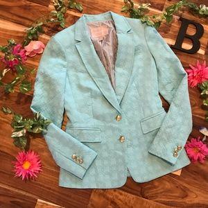 Banana Republic Blazer Jacket sz 0 Aqua Blue Green